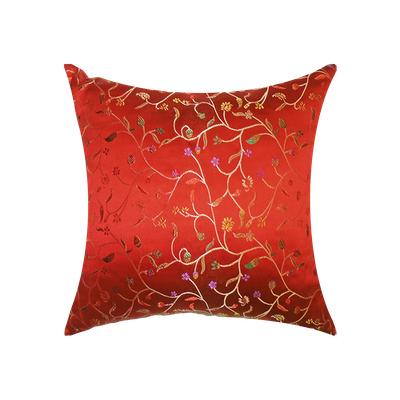 Blossom Brocade Cushion Cover - Red - Image 2