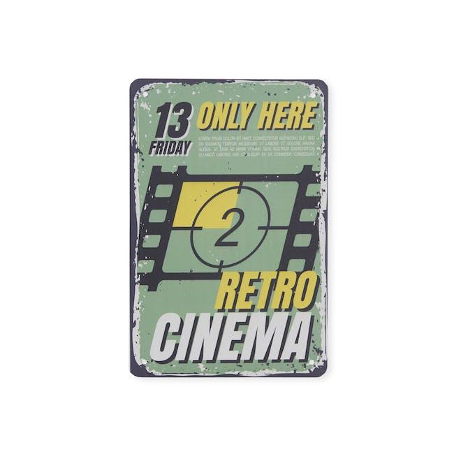 Tin Plate Wall Decor - Retro Cinema - 0
