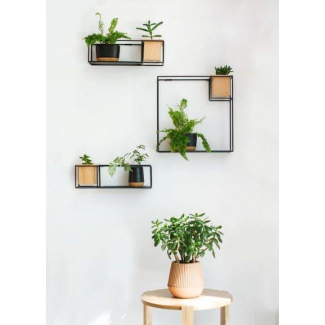 Cubist Large Wall Shelf - Natural, Black - 10