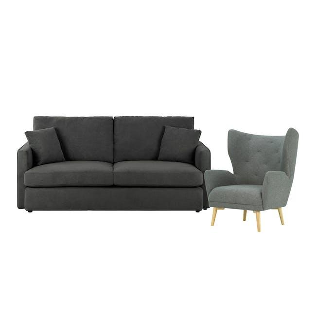 Ashley 3 Seater Sofa in Granite with Kiwami in Battleship Grey - 0