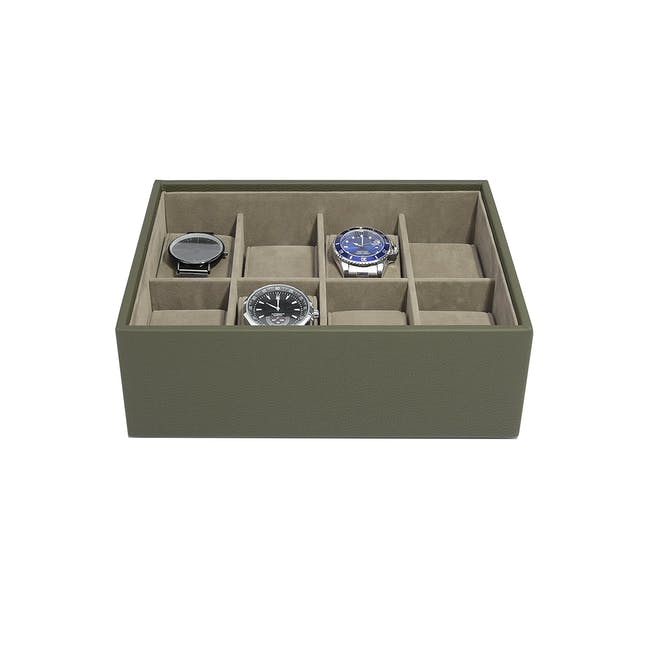 8-Piece Watch Box with Acrylic Lid - Olive - 0