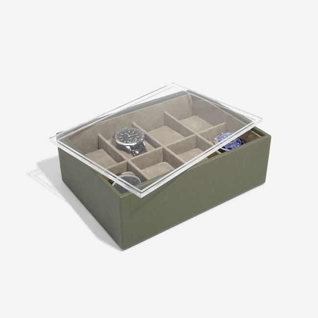 8-Piece Watch Box with Acrylic Lid - Olive - 1