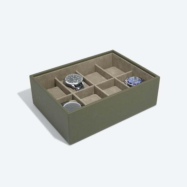 8-Piece Watch Box with Acrylic Lid - Olive - 2