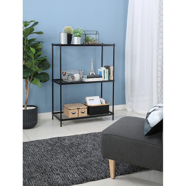 Walden 3-Tier Storage Shelf 90cm - Black - 1