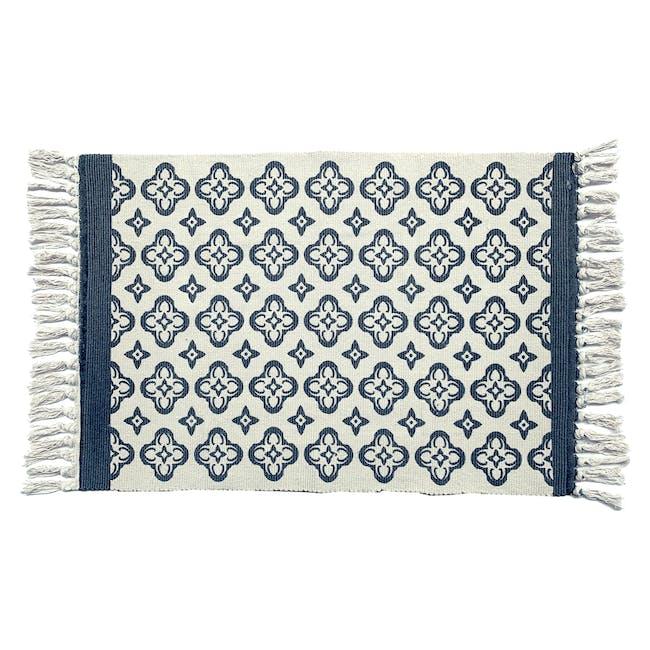 Floral Floor Mat - Blue - 0