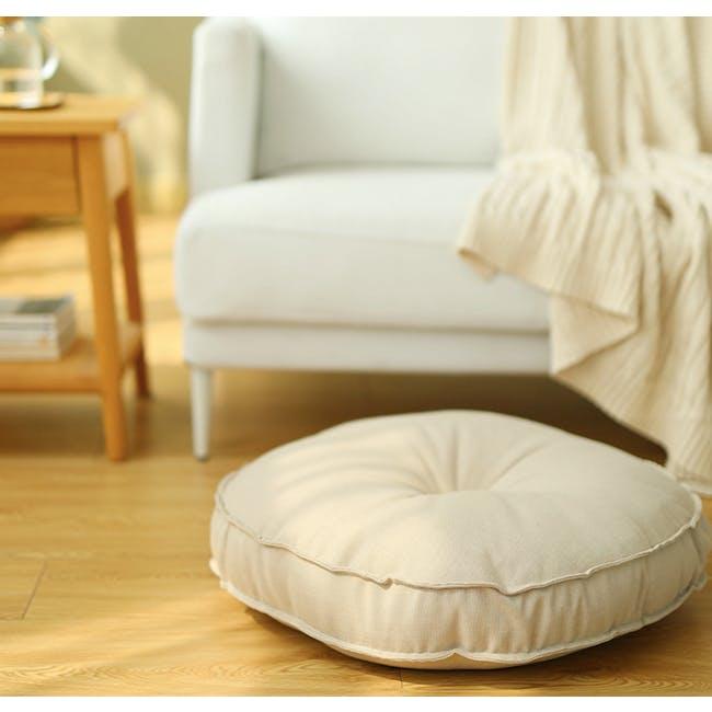 Hanya Round Floor Seat Cushion 60 cm - Beige - 1