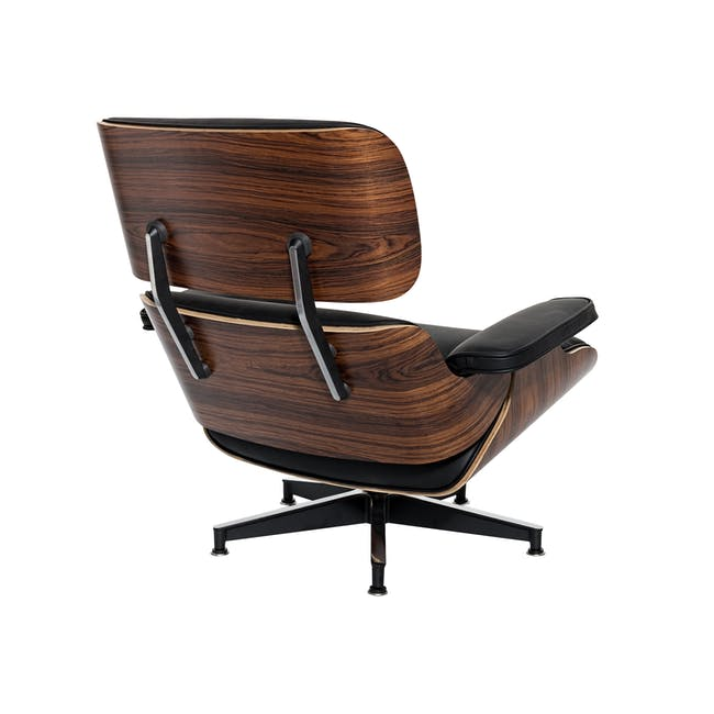 Eames Lounge Chair and Ottoman Replica - Black (Genuine Cowhide) - 4