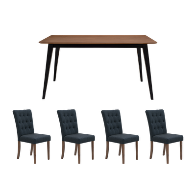 Ralph Dining Table 1.5m with 4 Henry Dining Chairs - Cocoa - Image 1