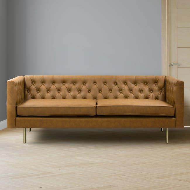Cadencia 3 Seater Sofa - Tan (Faux Leather) - 1