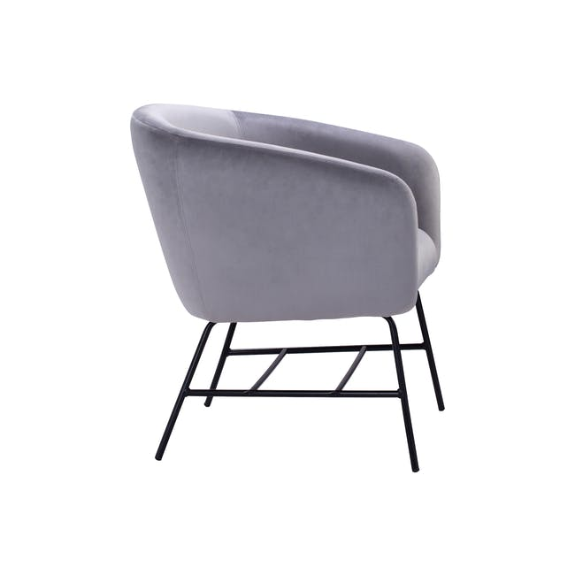 Galen Lounge Chair - Ash Grey (Velvet) - 3