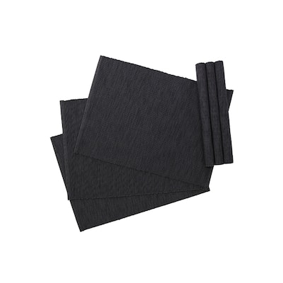 Rectangular Cotton Placemats (Set of 6) - Dark Grey - Image 1