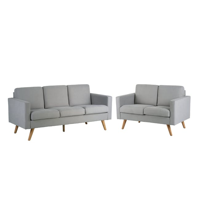 Helen 3 Seater Sofa with Helen 2 Seater Sofa - Silver Fox - 0
