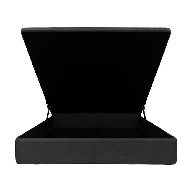 ESSENTIALS Super Single Headboard Storage Bed - Smoke (Fabric) - 2