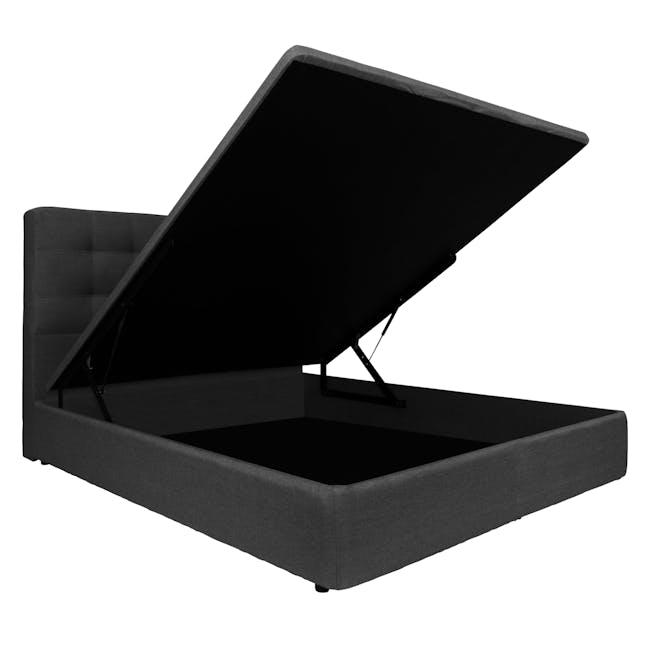 ESSENTIALS Super Single Headboard Storage Bed - Smoke (Fabric) - 3