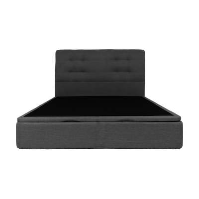 ESSENTIALS Tufted Headboard Bed with Storage - Smoke (Fabric) - 4 Sizes - Image 1
