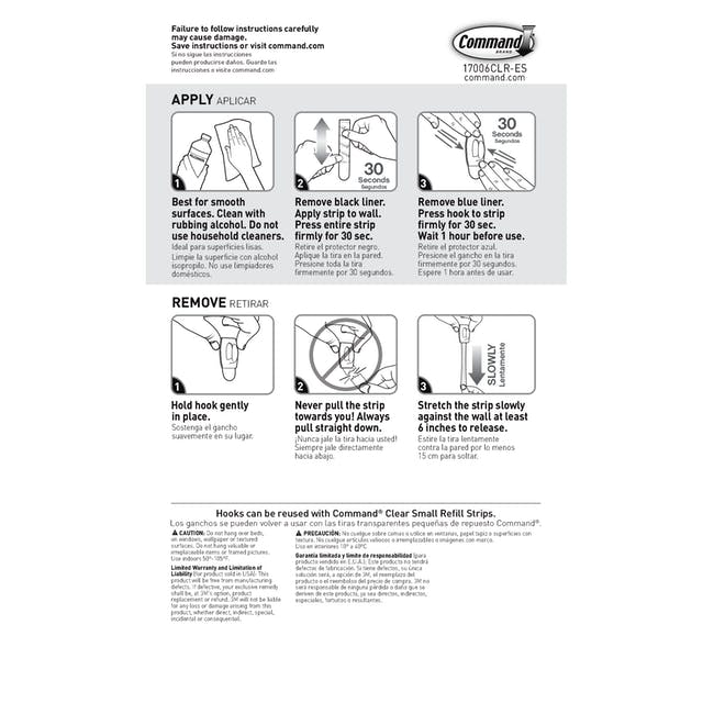 Command™ Clear Hooks with Clear Strips - Mini - 7