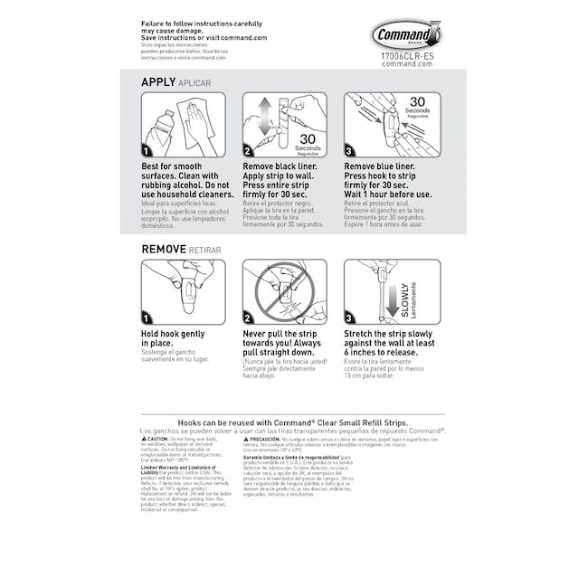 Command™ Clear Hooks with Clear Strips - Medium - 3