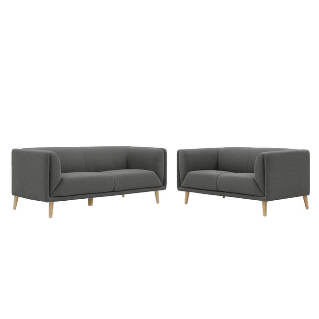 Audrey 3 Seater Sofa with Audrey 2 Seater Sofa - Granite Grey - 0