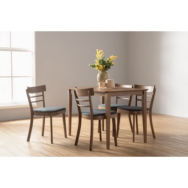 Charmant Dining Table 1.4m in Walnut with 4 Dahlia Dining Chairs in Caramel - 6