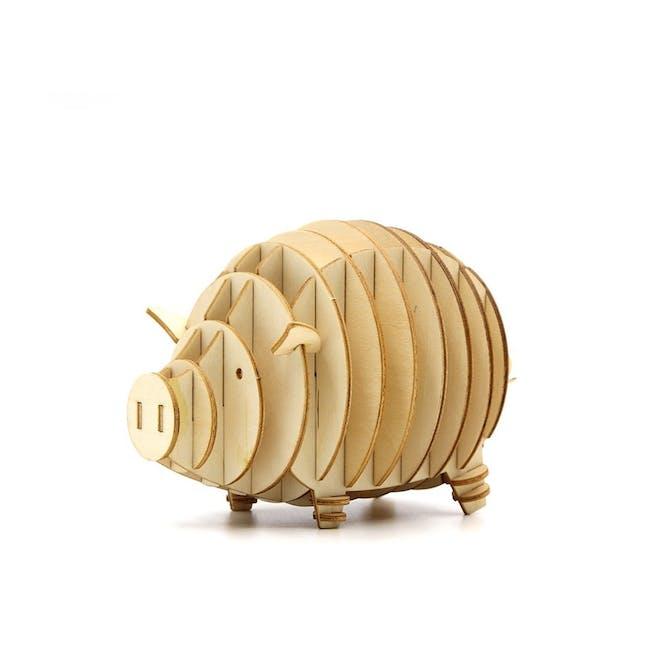Jigzle Lifestyle Animal Piggy Coinbank 3D Wooden Figurine - 0