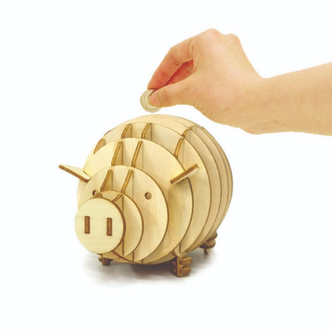 Jigzle Lifestyle Animal Piggy Coinbank 3D Wooden Figurine - 1