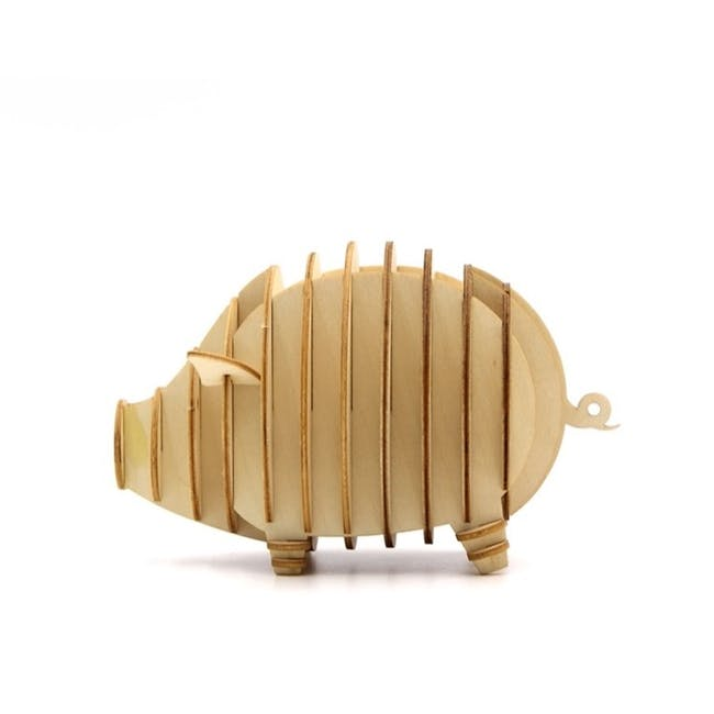 Jigzle Lifestyle Animal Piggy Coinbank 3D Wooden Figurine - 2