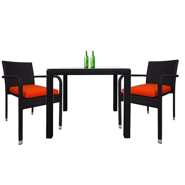 Palm Outdoor Dining Couple Set with Orange Cushions - 0