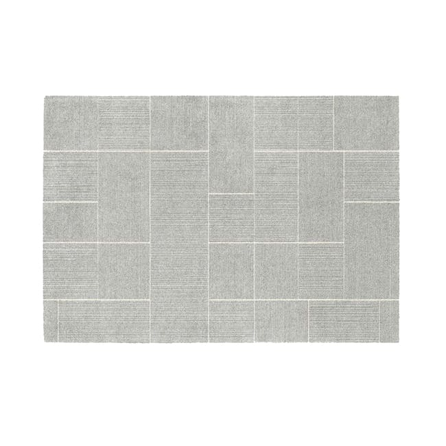 Fjord Low Pile Rug 2.9m x 2m - Silver Squares - 0