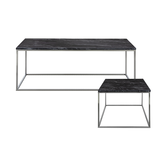 Amelia Marble Coffee Table With Side Grey Chrome