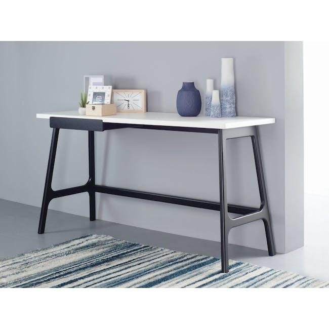 Morey Study Table - Black, White, Black Ash - 3