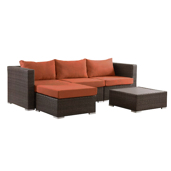 beldene modular l shaped outdoor sofa set burnt orange outdoor sets by hipvan hipvan. Black Bedroom Furniture Sets. Home Design Ideas