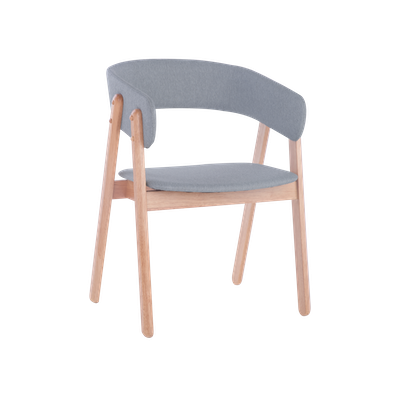 Venice Dining Chair with Cushioned Backrest - Oak, Light Grey - Image 1