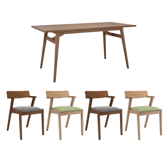 Odette Dining Table 1.6m with 4 Imogen Dining Chair in Dolphin Grey and Spring Green - 0