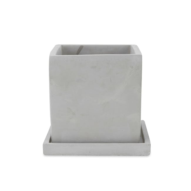 Square Concrete Pot with Saucer - Medium - 0