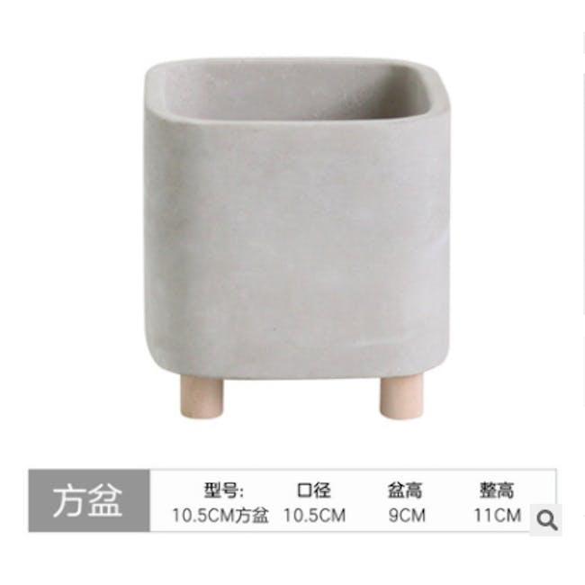 Mona Square Concrete Planter with Legs - Large - 2