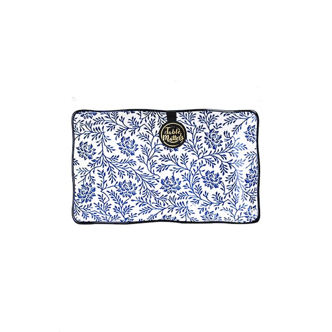 Table Matters Floral Blue Rectangular Ripple Plate - 0