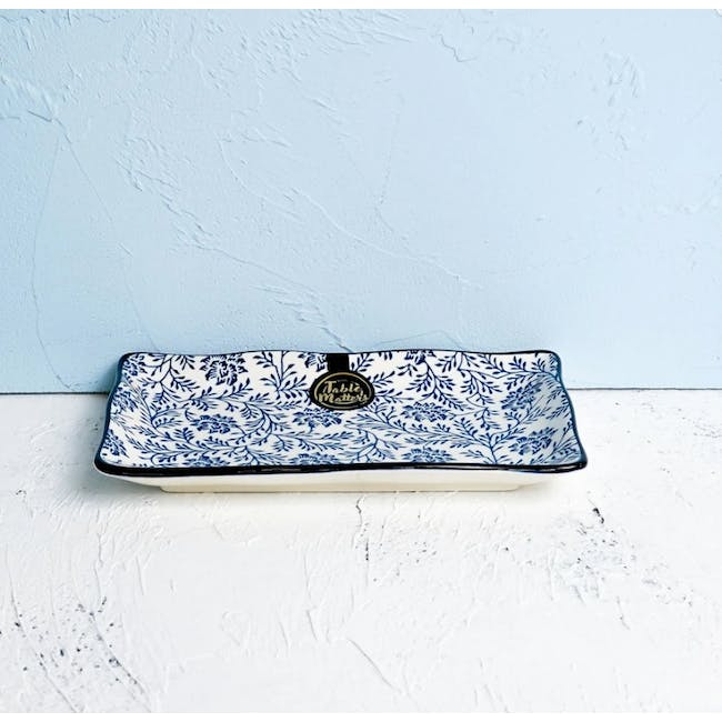 Table Matters Floral Blue Rectangular Ripple Plate - 1