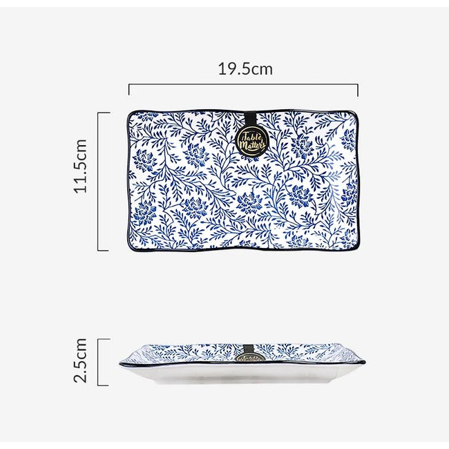Table Matters Floral Blue Rectangular Ripple Plate - 2