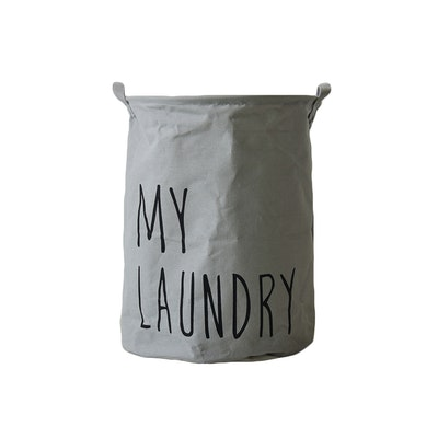 Jute Drawstring Laundry Basket  - Grey