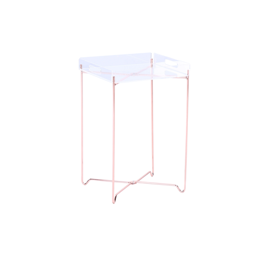 Helga - Campbell Occasional Table - Clear Acrylic, Copper