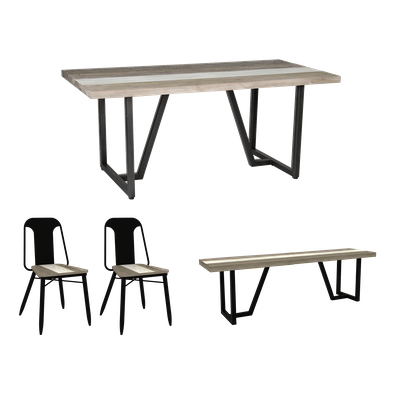 Xavier Dining Table 1.8m with Xavier Bench 1.5m and 2 Xavier Dining Chairs - Image 1