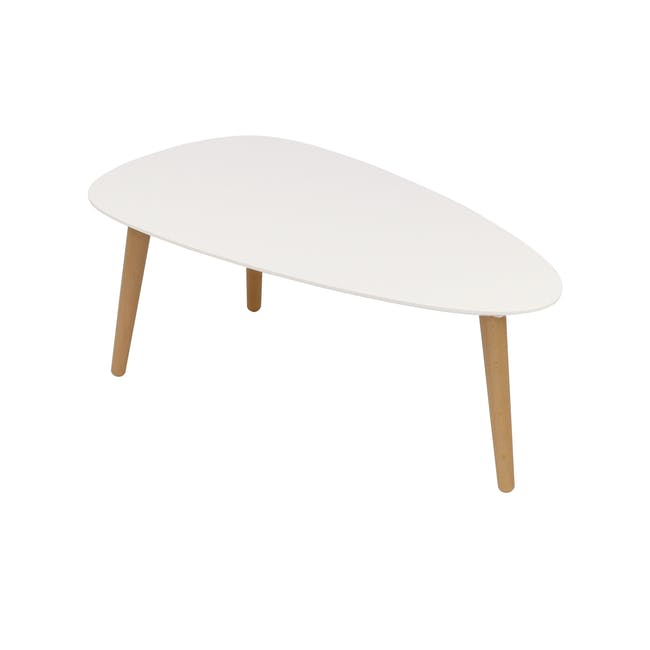 Emelie TV Console 1.6m in Oak, White with Avery Coffee Table in White - 1