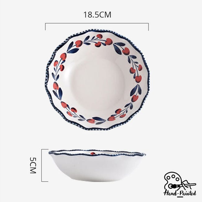 Table Matters Holiday Berry Hand Painted Scallop Lace Bowl - 2