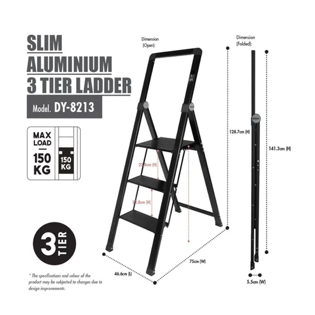 HOUZE Slim Aluminium 3 Tier Ladder - 2
