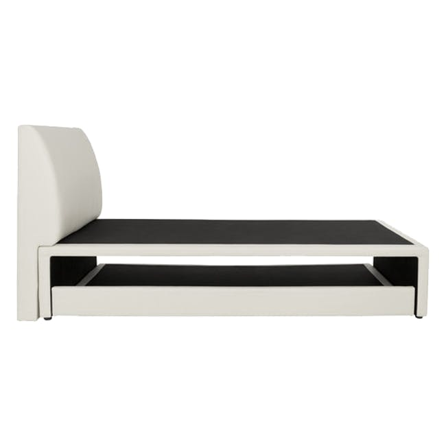 ESSENTIALS Super Single Trundle Bed - White (Faux Leather) - 5