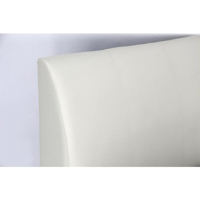 ESSENTIALS Super Single Trundle Bed - White (Faux Leather) - 7