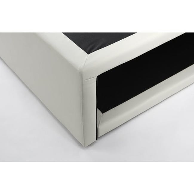 ESSENTIALS Super Single Trundle Bed - White (Faux Leather) - 8