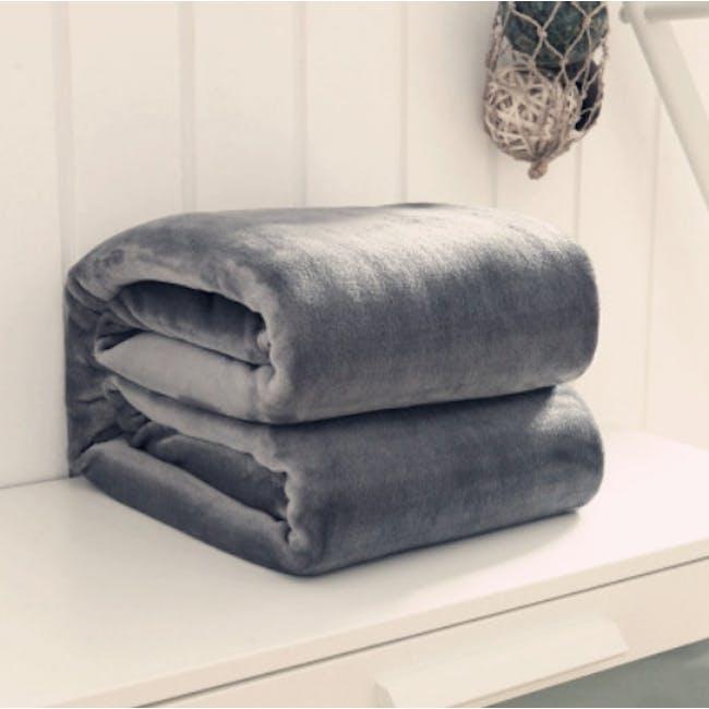 Marlow Velvet Plush Blanket - Dark Grey - 4