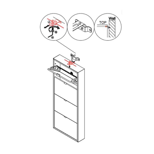 ( As-is ) Quen 4 Door Shoe Cabinet - Grey - 1 - 8