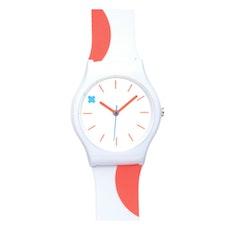 Pop / White and Fluro Orange Pattern Watch